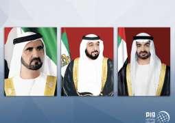 رئيس الدولة ونائبه ومحمد بن زايد يهنئون حاكم عام اتحاد سانت كيتس باليوم الوطني لبلاده
