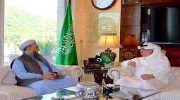 وزیر الشوٴون الدینیة الباکستاني نور الحق قادری یلتقی سفیر السعودیة لدی باکستان