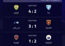 فوز الشارقة و بني ياس و الوصل في الجولة الثانية من دوري الخليج العربي