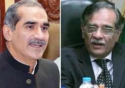 Khawaja Saad Rafique avoids hand-shake with former CJP Saqib Nisar