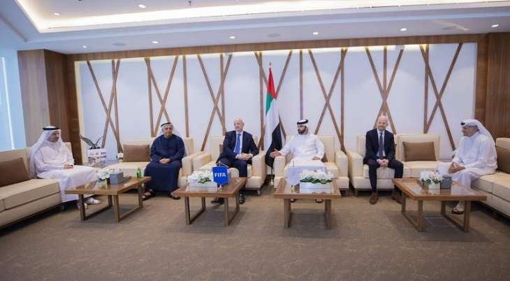 Mansoor Bin Mohammed meets FIFA chief and discusses efforts to develop world football