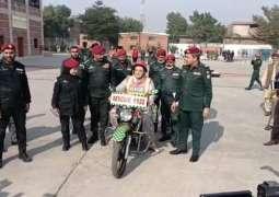Firdous Ashiq Awan rides Rescue 1122 motorcycle