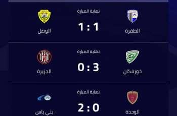 فوز بني باس وخورفكان وتعادل الظفرة مع الوصل في دوري الخليج العربي