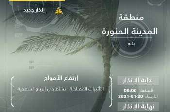 المركز الوطني للأرصاد : نشاط في الرياح السطحية وارتفاع الأمواج على محافظة ينبع