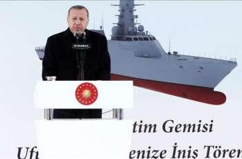 Turkey's Erdogan Attends Launch of 1st Domestically Built Frigate