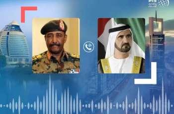 محمد بن راشد يتلقى اتصالا هاتفيا من رئيس مجلس السيادة السوداني