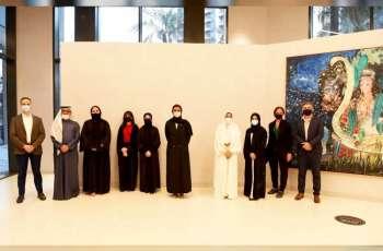 Noura Al Kaabi visits art exhibition of Zayed University female students