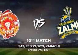 PSL 6 Match 10 Peshawar Zalmi Vs. Islamabad United 27 February 2021: Watch LIVE on TV