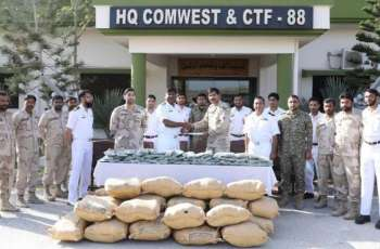 Pakistan Navy And Antinarcotics Force Seize Drugs In A Joint Operation Near The Coast Of Pishukan