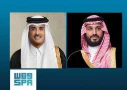 سمو ولي العهد يتلقى اتصالاً هاتفياً من أمير دولة قطر