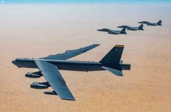 تمرين ثنائي بين المقاتلات السعودية F15-SA والقاذفات الأمريكية الإستراتيجية B52