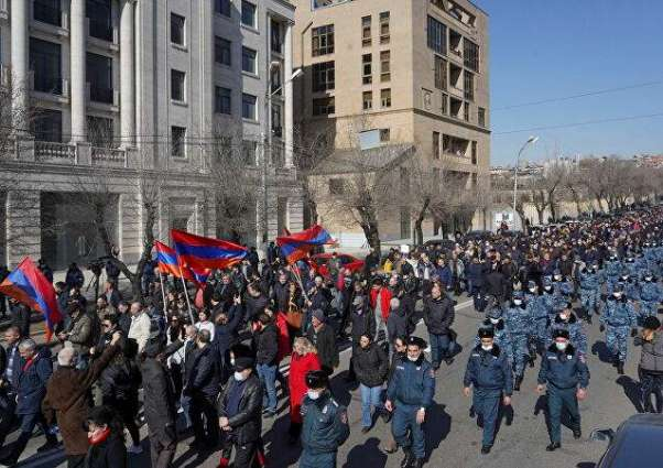 Armenian Opposition Protesters Gathering in Downtown Yerevan for Anti-Gov't Demonstration