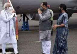 Indian Prime Minister Arrives in Cyclone-Hit Gujarat