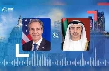 Abdullah bin Zayed, US Secretary of State review developments in Israel, Palestine