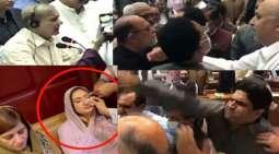 شاھد : مشاجرة داخل البرلمان الباکستاني و اصابة سیاسیة من حزب الانصاف