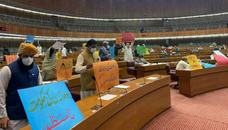 Budget FY2021-22: Opposition creates rumpus during Finance Minister's speech in National Assembly