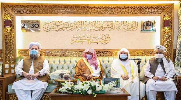 رئیس شوٴون المسجد الحرام و المسجد النبوي یستقبل علماء باکستان و أفغانستان