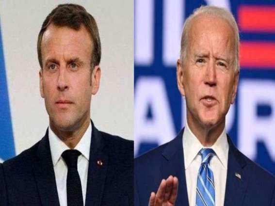 US President Biden Tells France's Macron That Washington, Paris 'On The Same Page'