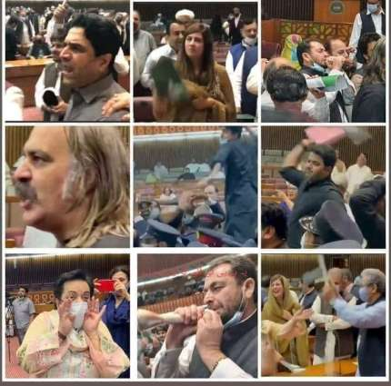 Scenes of Hullabaloo in National Assembly go viral on social media