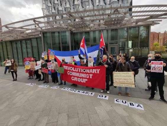 UK Campaigners Protest Against US Blockade of Cuba