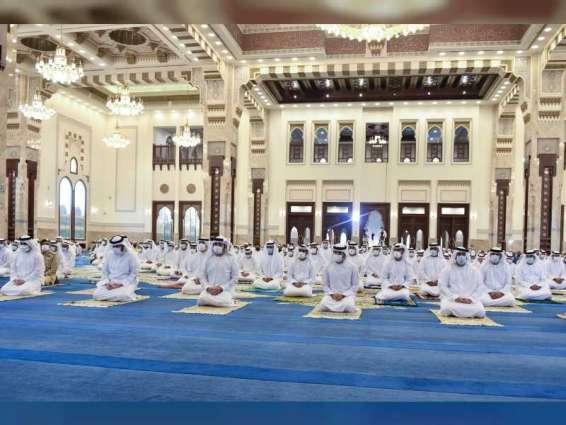 Hamdan bin Mohammed bin Rashid performs Eid Al Adha prayer at Sheikh Rashid Mosque