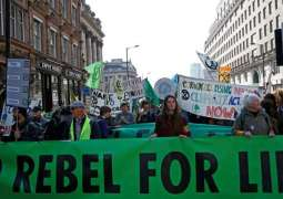Extinction Rebellion Climate Change Activists Block Central London on 2nd Day of Protest