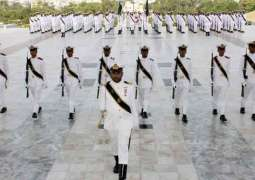 Change of guard ceremony held at Quaid-i-Azam mausoleum in Karachi