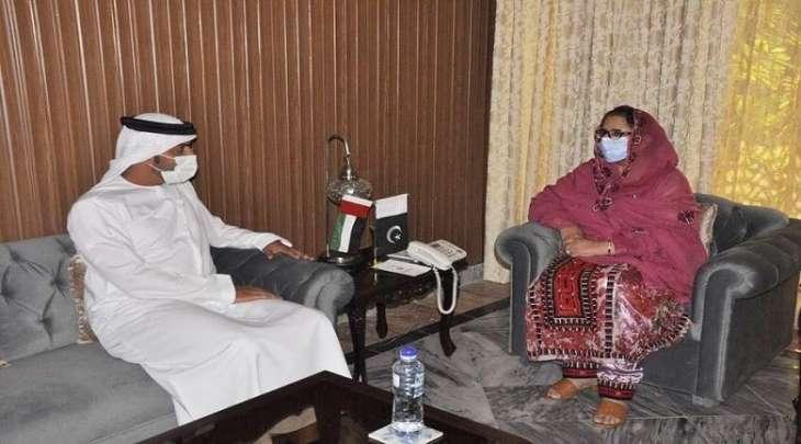 وزیرة الانتاج الحربي بباکستان زبیدة جلال تجتمع بسفیر دولة الامارات لدی اسلام آباد