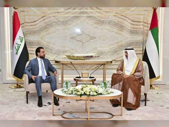 صقر غباش يبحث تعزيز العلاقات الثنائية مع رئيس مجلس النواب العراقي