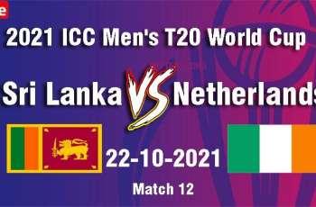 T20 World Cup 2021 Match 12 Sri Lanka Vs. Netherlands, Live Score, History, Who Will Win