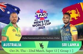 T20 World Cup 2021 Match 22 Australia Vs. Sri Lanka, Live Score, History, Who Will Win
